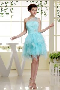 One Shoulder Beaded Cute Graduation Dress Baby Blue with Ruffles