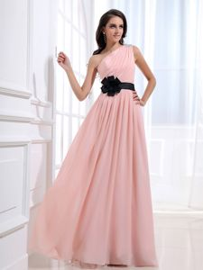 One Shoulder College Graduation Dresses with Ruches in Baby Pink