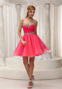 Leopard Coral Red Mini-length Eighth Grade Graduation Dresses