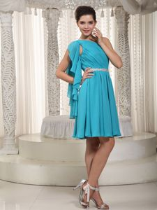 Teal Empire One Shoulder Mini-length College Graduation Dress
