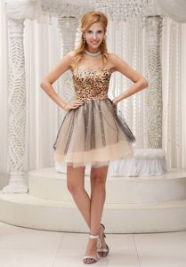 Leopard Beaded Sweetheart 2013 Graduation Dresses For 8th Grade