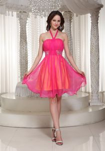 2013 Hot Pink Halter Beaded Organza Prom Dress For Graduation