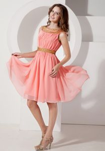 Watermelon A-line Bateau Knee-length Grad Dresses For Juniors