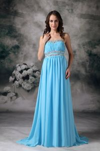 Baby Blue Empire Strapless Brush Train Grad Dresses For College