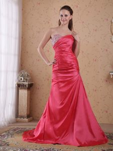 Coral Red A-line Sweetheart Court Train Senior Graduation Dress