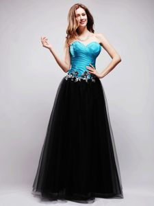 Black and Blue A-line Sweetheart Graduation Dresses For Juniors
