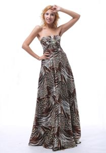 Multi-color Sweetheart Evening Dress For Grad with Animal Print