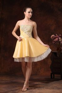 Gold Beaded Knee-length Half Beaded Eighth Grade Grad Dresses