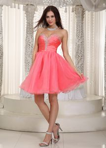 Watermelon Red A-line Sweetheart Knee-length Junior Grad Dresses
