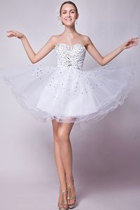 A-line Sweetheart Mini-length Grad Dress with Beading on Top