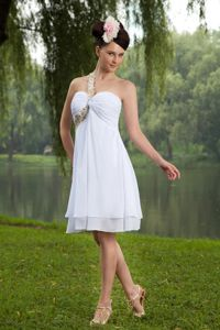 White Empire One Shoulder Knee-length Grad Dresses For College
