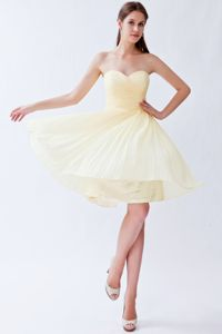 Light Yellow Sweetheart Knee-length University Graduation Dress