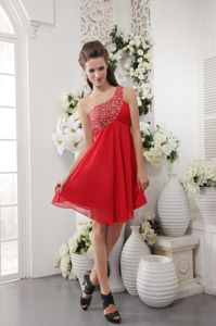 Red Empire One Shoulder Short Cutouts Prom Dress For Graduation