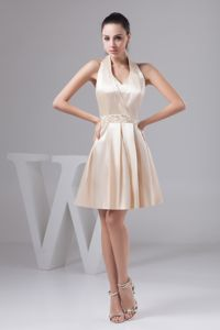 Champagne Mini-length Halter Beading Cheap Graduation Dresses