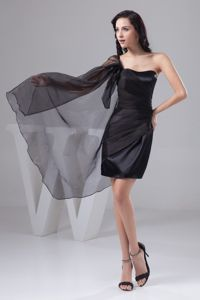 Black One Shoulder Dripping Fabric Grad Dress For High School