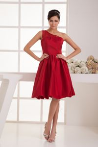 Wine Red Knee-length One Shoulder 5th Grade Graduation Dresses