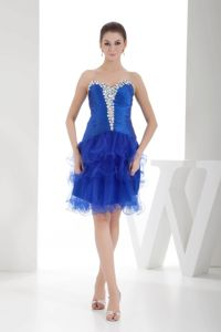 Royal Blue Beading Ruffles Layers Graduation Dress For 8th Grade