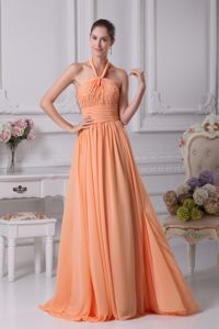 Orange Halter Beading Graduation Dresses for Grade 8 in New York
