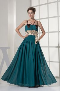 2014 Teal Straps Junior Graduation Dress with Floral Embellishment