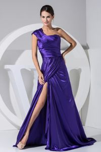 New Single Shoulder Taffeta College Graduation Dress with High Slit