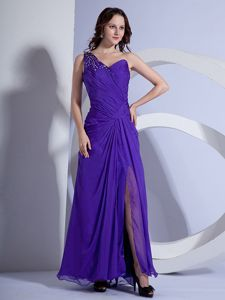 Trendy Purple High Slit College Graduation Dress with the Back out