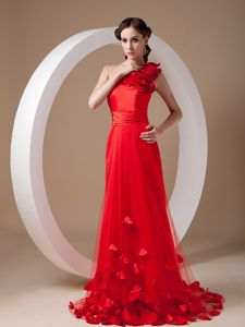 Red Single Shoulder Graduation Dress for High School with Flowers