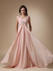 Baby Pink Court Train Beading Middle School Graduation Dresses