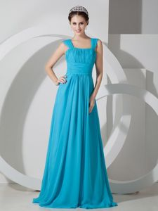 Aqua Blue Square Ruched Floor-length Graduation Dress for College