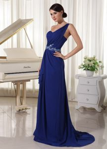 Royal Blue One Shoulder Graduation Dress for Girls with Appliques