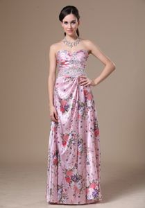 Floral Print Sweetheart Graduation Dress for College with Beading
