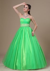 Stylish Tulle Spring Green Graduation Dress for Juniors with Beads