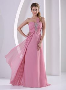 Plus Size Chiffon One Shoulder Beaded Prom Dress for Graduation