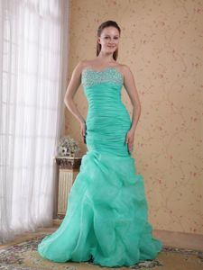 Turquoise Ruche Pick-ups Beading Evening Dresses for Graduation