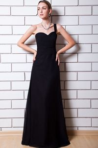 Elegant One Shoulder Black Floor-length Senior Graduation Dresses