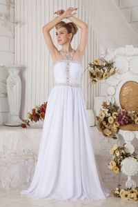 Unique White Beaded Halter Brush Middle School Graduation Dress