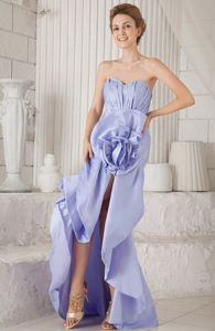 Asymmetrical Sweetheart Lilac Senior Graduation Dress with Flower