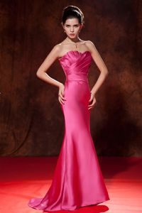 Mermaid Strapless Hot Pink Brush Evening Dresses For Graduation