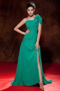 Turquoise One Shoulder High Slit Ruched Junior Graduation Dresses
