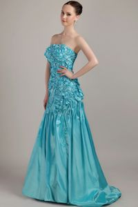 Unique Teal Ruched Brush Senior Graduation Dresses with Beading