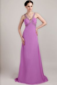 Special Backless V-neck Lavender Beaded Long Graduation Dress