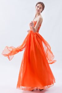Sweetheart Orange Red Beaded Long Graduation Dress For Juniors
