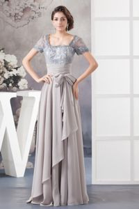 Grey Lace Short Sleeves Long Senior Graduation Dresses with Sash