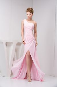 One Shoulder High Slit Pink Prom Dress For Graduation with Cutout