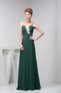 Dark Green Long College Graduation Dresses with Spaghetti Straps