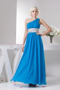 One Shoulder Teal Ruched Long Middle School Graduation Dresses