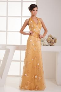 Halter Gold Beaded Long College Graduation Dresses with Flowers