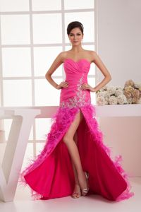 Zipper-up Hot Pink High Slit Beaded Graduation Dress with Flower