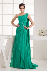 Watteau One Shoulder Green Ruched Graduation Dress For College