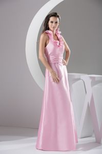 Ruffled Halter Pink Floor-length Middle School Graduation Dresses