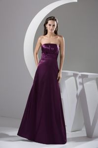 Strapless Side Zip Purple Ruched Long College Graduation Dresses